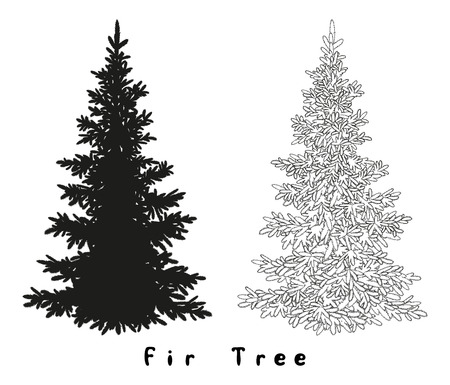 Christmas Spruce Fir Tree Black Silhouette, Contours and Inscriptions Isolated on White Background. Vector