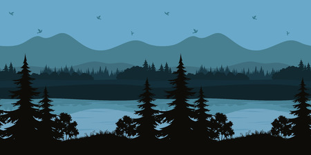 Illustration pour Seamless Horizontal Night Forest Landscape, Trees on the Shore of a Mountain Lake and Birds in the Sky, Black and Blue Silhouettes. Vector - image libre de droit