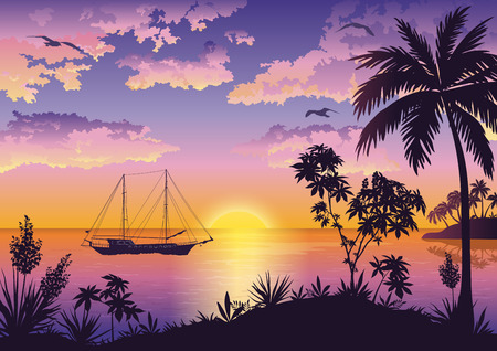 Illustration pour Tropical Landscape, Sunset Sea, Palm Trees and Flowers, Ship and Birds Gulls in the Sky with Clouds. Eps10, Contains Transparencies. Vector - image libre de droit