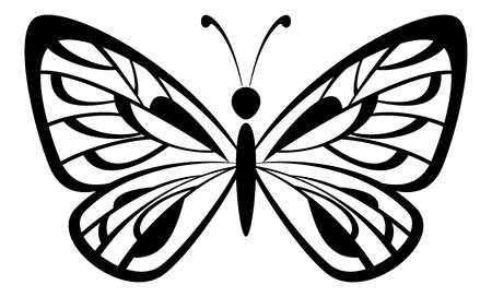 Butterfly Monochrome Black Pictogram Icon Isolated on White Background. Vector