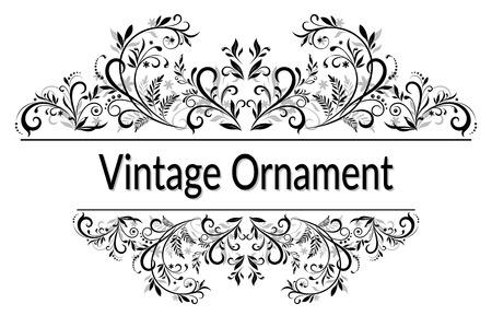 Ilustración de Vintage Calligraphic Ornament, Decorative Frame with Abstract Floral Pattern, Black Contours Isolated on White Background. - Imagen libre de derechos
