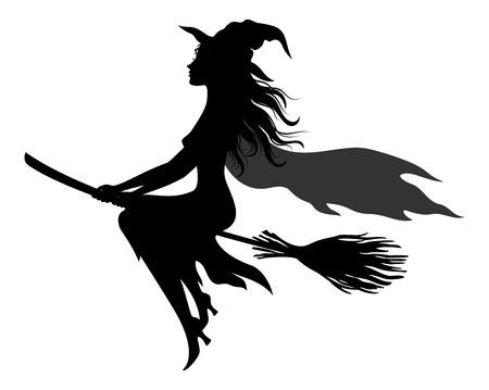 Ilustración de Witch Flying on Broom vector - Imagen libre de derechos