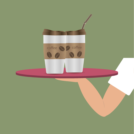 The waiter's hand holding a tray with a cup of coffee. Cartoon