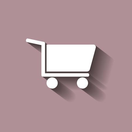 Shopping cart. Vector icon - trolley for goods shows the presence of a store, hypermarket, outlet. Vector icon with shadow