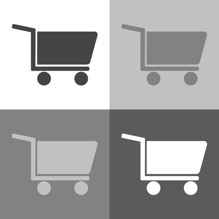 Shopping cart. Vector set icon - trolley for goods shows the presence of a store, hypermarket, outlet on white-grey-black color