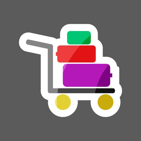 Shopping cart  colored sticker. Vector  icon - trolley for goods shows the presence of a store, hypermarket, outlet. Layers grouped for easy editing illustration.  For your design.