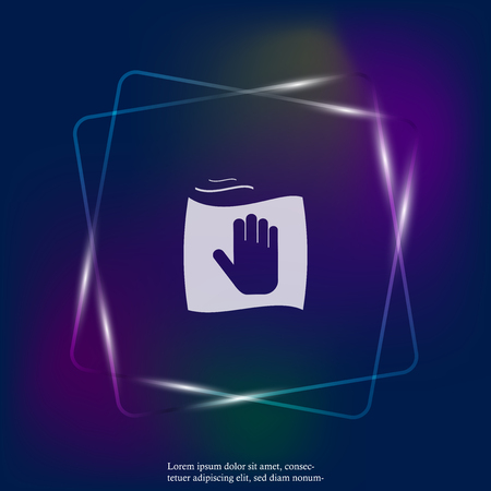 Vector neon light icon hand and rag. Symbol cleaning and cleanliness. Layers grouped for easy editing illustration. For your design.