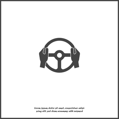 Vector icon of car steering wheel and driver's hands on white isolated background. Layers grouped for easy editing illustration