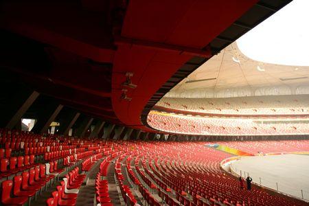Red seats in China Olympic National Stadium (Bird's Nest), Beijing