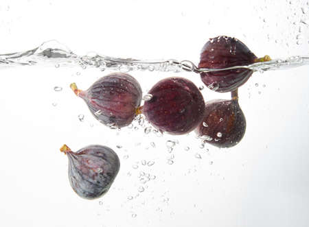 Photo pour Fresh figs falling deeply into clear water isolated on a white background. Healthy food diet freshness concept. Copy space .. - image libre de droit
