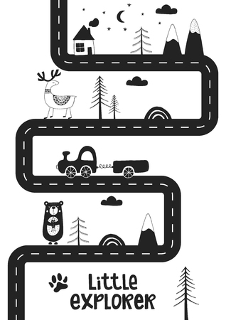 Illustration pour Little explorer - Cute hand drawn nursery poster with road, wild animals and car. Unique card in black and white scandinavian style. Monochrome vector illustration. - image libre de droit