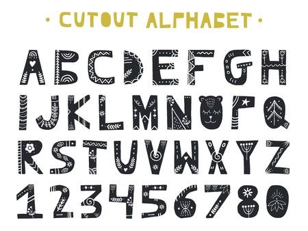 Ilustración de Cutout ABC - Latin alphabet. Unique handmade letters folk art ornament in scandinavian style. Vector illustration. - Imagen libre de derechos