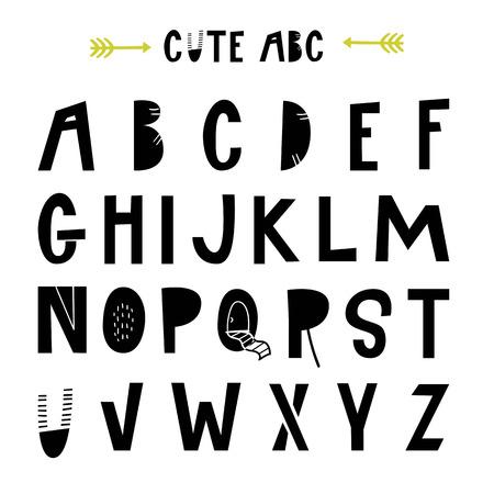 Illustration pour ABC - Latin alphabet. Unique nursery poster with letters in scandinavian style. Vector illustration. - image libre de droit