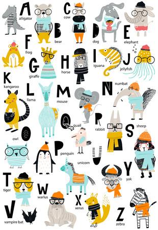 Illustration pour Cute vector zoo alphabet poster with cartoon animals. Set of kids abc elements in scandinavian style. - image libre de droit