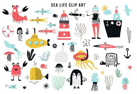 Illustration pour Big kids sea life clipart collection. A large set of items on the marine theme cut out of paper. Vector illustration. - image libre de droit