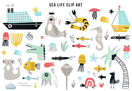 Illustration pour Big kids sea life clipart collection. A large set of items on the marine theme cut out of paper. Vector illustration. - image libre de droit