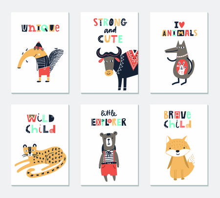 Illustration pour Collection of children cards with cute animals and lettering. Perfect for nursery posters. Vector illustration. - image libre de droit