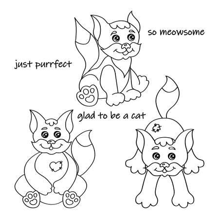 Illustration pour Set of nice cats silhouette for coloring book vector illustration - image libre de droit