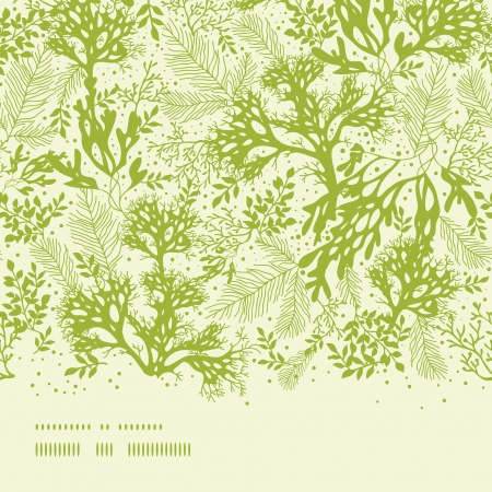 Illustration pour Green underwater seaweed horizontal seamless pattern background - image libre de droit