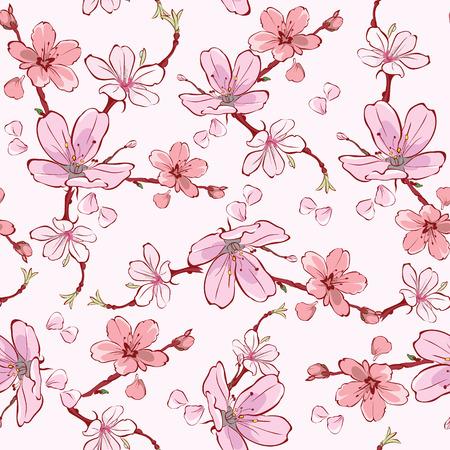 Illustration pour Vector Pink Cherry Sakura Flowers Seamless Pattern graphic design - image libre de droit