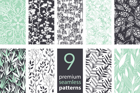 Vector 9 Branches Set Seamless Pattern graphic design