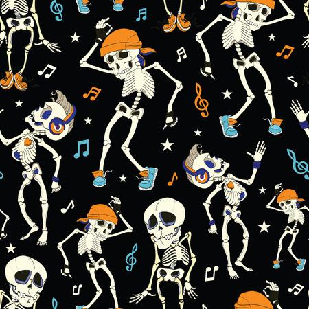 Illustration pour Vector Dancing Skeletons Party Halloween Seamless Pattern. Music Disco. Funny Headphones graphic design - image libre de droit