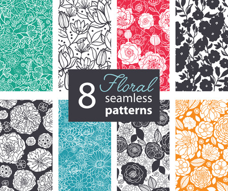Vector Black White Color Flowers 8 Set Seamless Pattern. Poppy, peony graphic design