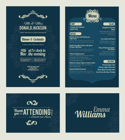 Illustration for Vector Elegant Blue Dinner Coctails Party Invitation Set. Invite, menu, thank you, place card, event collection, graphic design - Royalty Free Image