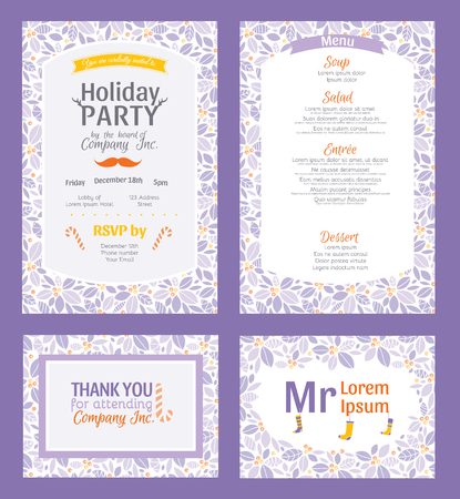 Vector Puprle Holiday Party Invitation Set With Holly Berry Pattern Frame. Invite menu thank you placement card graphic design