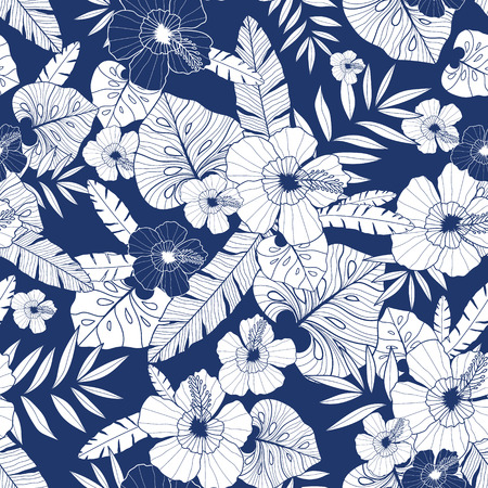 Illustration for Vector blue drawing tropical summer hawaiian seamless pattern with tropical plants, leaves, and hibiscus flowers. - Royalty Free Image
