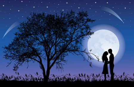 Silhouettes of man and woman hugging at night time with a Tree silhouette. Giant beautiful full moon in the sky.
