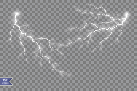 Illustration pour Vector illustration. Transparent light effect of electric ball lightning. Magic plasma energy - image libre de droit