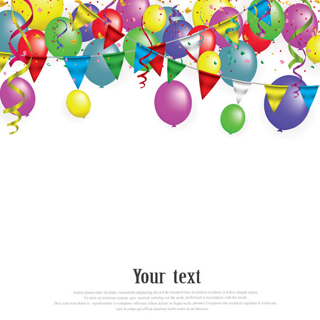 Illustration for White paper banner for Carnival.Happy Birthday typography vector design for greeting cards and poster with balloon, confetti , design template for celebration. EPS 10 - Royalty Free Image