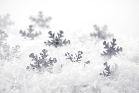 Snow background with cover and snowflakes