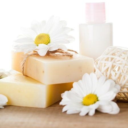 Natural cosmetics concept: soap and hand cream for hands