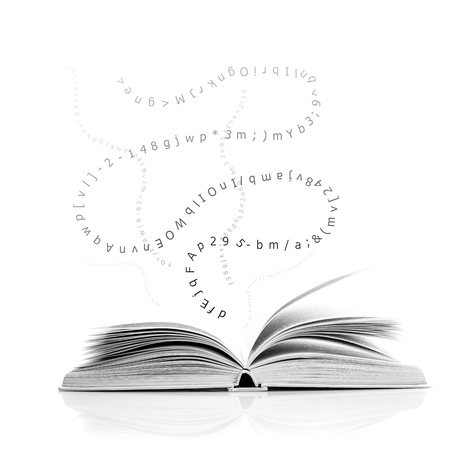 Photo pour One open book with letters and number, education concept - image libre de droit