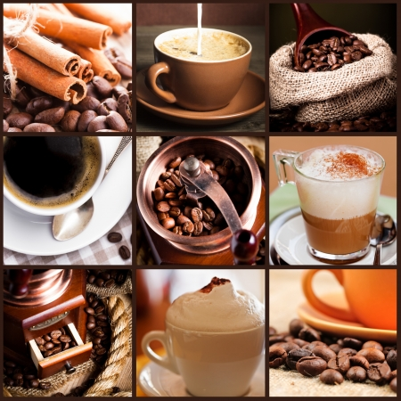 Coffee, cappuccino, latte, and roasted beans. Coffee concept.