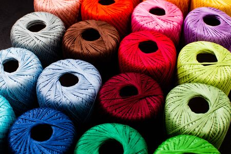 Photo pour Colored balls of yarn for knitting close up - image libre de droit
