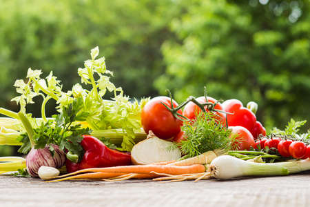 Photo for Fresh homegrown vegetables on table outdoors on summer day - Royalty Free Image