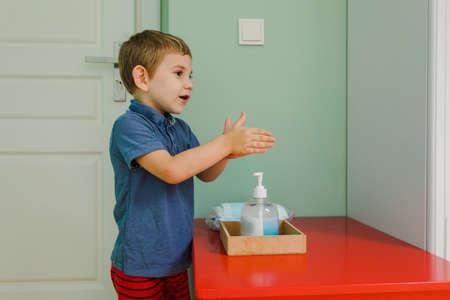 Photo pour The toddler boy follows the rules of safety in the kindergarten - image libre de droit