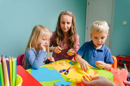 Photo for children and tutor study together at the creative school - Royalty Free Image