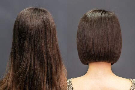 Photo pour Rear view of hair before and after haircut. - image libre de droit