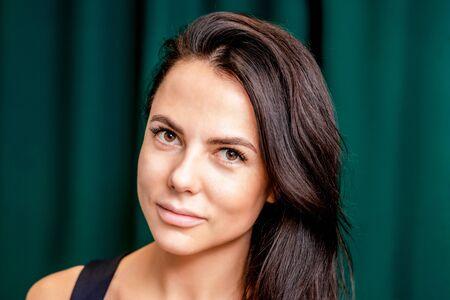 Photo pour Close up portrait of beautiful young woman with long eyelashes after eyelash extension. - image libre de droit