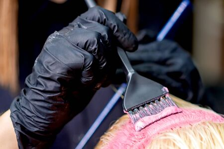 Photo for Closeup of hands of hairdresser dyeing hair of woman in pink color. Dyeing hair of woman. - Royalty Free Image