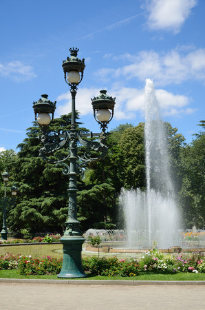 Summer park Beaumont is sunlit and empty in the French city Pau