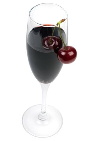 Glass of wine and fresh cherries it is isolated on a white background.
