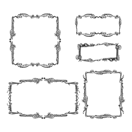 Illustration for Set of decorative vintage frames. graphic drawn by hand vector illustration on white background - Royalty Free Image