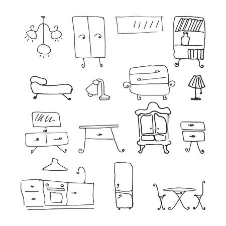 Illustration for furniture set. hand-drawn vector illustration on white background - Royalty Free Image
