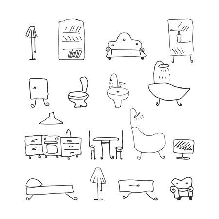 Illustration pour furniture set. hand-drawn vector illustration on white background - image libre de droit