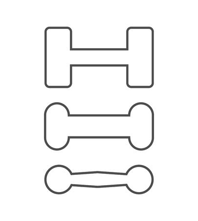 Ilustración de dumbbells icon set. vector outline illustration on white background. - Imagen libre de derechos